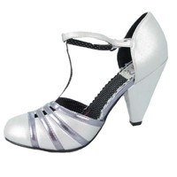 Deco Era Inspired Silver T Strap Dress Pump-Vintage Inspired Shoes