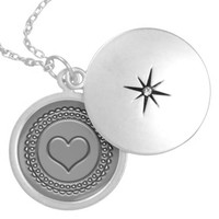 faux engraved pewter and silver heart