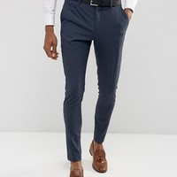 Selected Homme Super Skinny Suit Pants In Stretch In Navy at asos.com