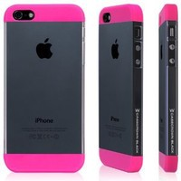 Amazon.com: CaseCrown Black Clear Color Block Case (Pink) for Apple iPhone 5 - Screen Protector Included: Cell Phones & Accessories