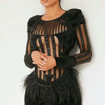 Butterfly Sparkle Black Feather Dress(Ready to Ship)