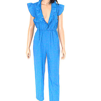 Vintage 70s Blue Ruffle Jumpsuit Straight Leg Romper Playsuit SALE 50% off