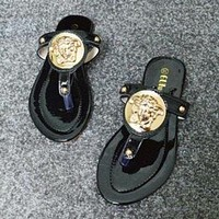 Versace Trending Women Casual Flat Sandal Slipper Shoes(3-Color) Black