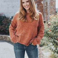 Ray Chenille Sweater, Rust