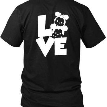 Mickey Minnie Disney 2 Sided Black Mens T Shirt