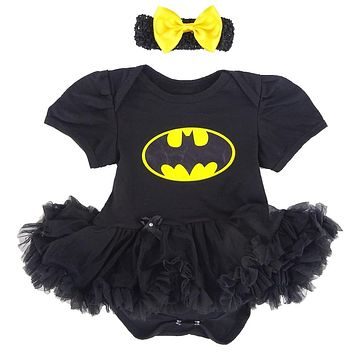 Baby Girl Superhero Tutu Dresses Headhand Short Sleeves Cotton Infant Costume Size 0-12 Months