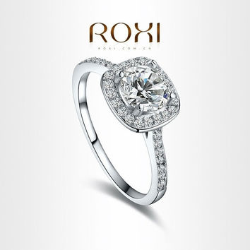 ROXI 18K White Gold Plated Elegant Platinum Round Square Diamond Wedding Ring Fashion Jewelry Sets For Women = 1932115972
