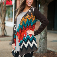 Speckled Chevron Cardigan, Brown