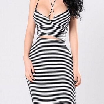 Black-White Striped Cut Out Halter Neck Spaghetti Strap Bodycon Midi Dress