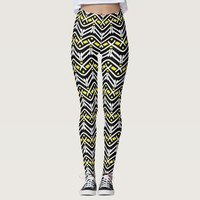 Funky Zigzag Pattern in Yellow and White Leggings