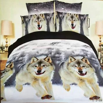 2016 hot reactive 3d wolf king queen twin size 3 4pcs bedding set of duvet doona cover bed sheet pillow cases bed linen set