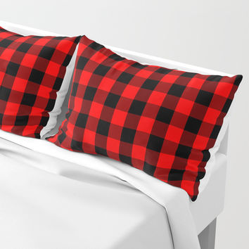 Classic Red and Black Buffalo Check Plaid Tartan Pillow Sham by podartist