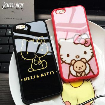 JAMULAR Cover For iphone 8 7 Plus Case Cartoon Silicone Mirror Hello Kitty Cases For iphone 6 6s Plus 5s SE Back Covers Coque