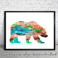 Bear 3 Watercolor Print, watercolor painting, watercolor art, Illustration,  home decor wall art,bear art, watercolor animal, Grizzly
