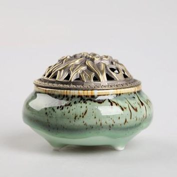Ceramic Coil Incense Burners Holder with Metal Copper Cover  B