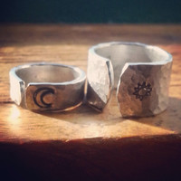 sol luna his and hers  set of two aluminum cuff rings 1/4 inch wide and 1/2 inch wide moon, sun hammered rings