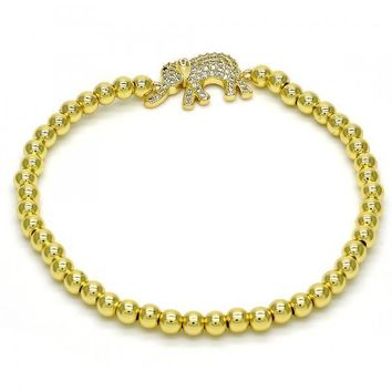 Gold Tone 03.207.0021.07.GT Fancy Bracelet, Elephant Design, with White and Black Micro Pave, Polished Finish, Golden Tone