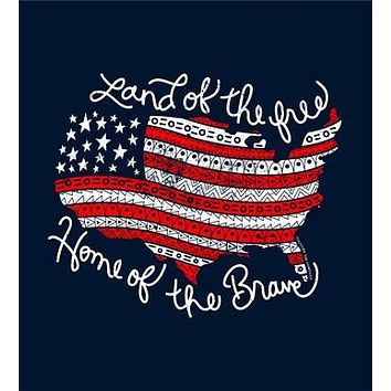 Southern Couture Land of the Free USA Flag American Aztec Navy Girlie Bright Tank Top Shirt