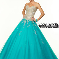 Sweetheart Beaded Tulle Ball Gown Paparazzi Prom Dress By Mori Lee 97135
