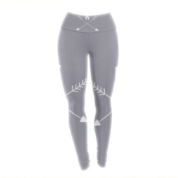 "KESS Original ""Gray Arrow Monogram"" Yoga Leggings"
