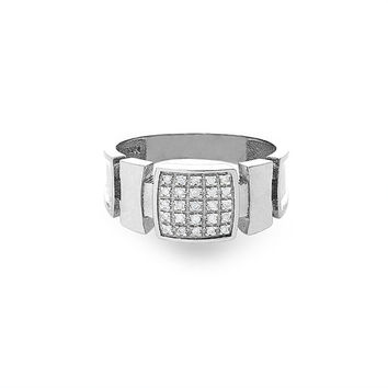 14k solid white gold diamond men's ring. fancy ring.