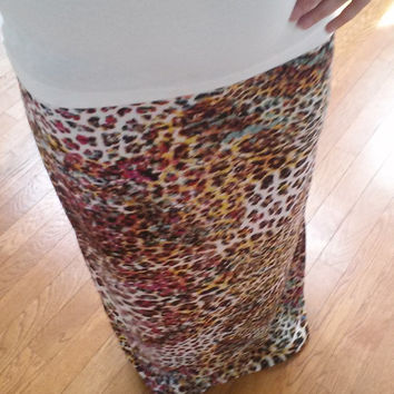 Brightly Colored Animal Print Maxi Skirt Custom Made upon Order Spring Skirt Fashion Maxi Animal Print Skirt Long Skirt A line Skirt Womens