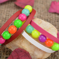 Handmade bright summer pink white leather wrist bracelet with colorful beads
