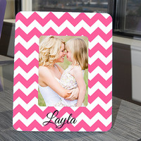 Pink and White Chevron Personalized Picture Frame