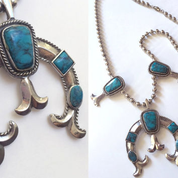Vintage Faux Turquoise Squash Blossom Necklace | bohemian turquoise Jewelry | 70s Navajo Silver Tribal Boho Chunky Naja Necklace