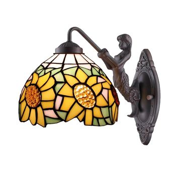 Amora Lighting AM1074WL08 Tiffany Style Sunflower Wall Lamp