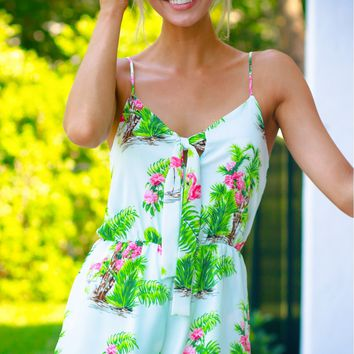 Bow Palm Tree Romper Mint