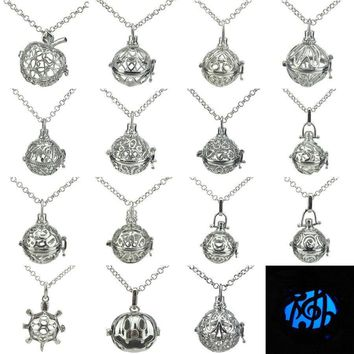 16-30 Glow in the Dark Essential Oils  Silver Heart Plant Leaf Music Notes Letter Pumpkin Animal Turtle Locket Necklace
