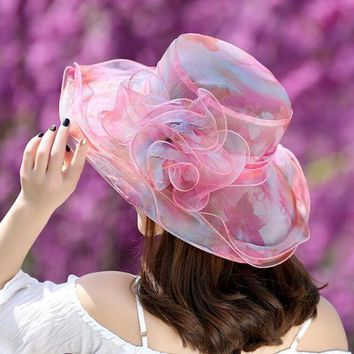 Women Summer Sun Hat Floral Organza Beach Wide Brim Floral Sunshade Hat Ladies Outdoor Breathable Anti-UV Protection Sun Caps