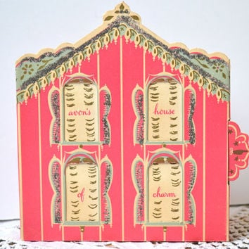 Avon's House of Charm, Pink Dollhouse, 1950s Christmas Gift Box, Vintage Perfume Bottle Display, Wild Rose, Cotillion, Golden Promise