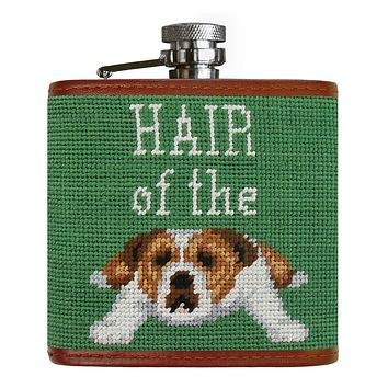 Hair of the Dog  Needlepoint Flask in Sage by Smathers & Branson