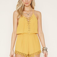 Lace-Up Cami Romper