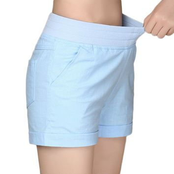 European and American BF summer wind female candy color high waist linen shorts women loose elastic waist shorts plus size
