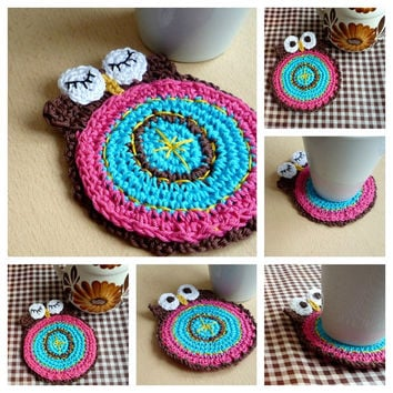 Crochet Double-Faced Owl Coaster Valentine's