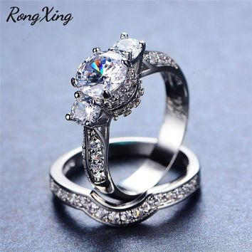RongXing Fashion Round April Birthstone Bridal Sets 925 Sterling Silver Filled AAA Zircon Wedding Ring Sets For Women Jewelry
