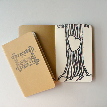 wedding vows notebooks - pocket moleskine, rustic wedding vows notebooks, woodland wedding vows, his and hers vows books