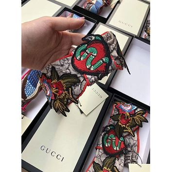 GUCCI Flower Embroidered Silk Headband + Gift box