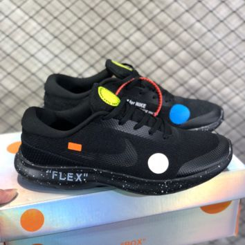 DCCK N787 Nike FLEX RN7 Off White Light fashion sports casual Running shoes Black