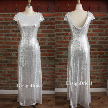 10% OFF Sliver Sequin Bridesmaid Prom Dress,Sequin Long Dress,Fancy Sequins Evening Dress with Swoop Back,Modest Silver Party Dress Long