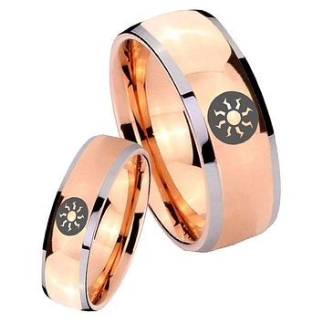 His Hers Rose Gold Dome Magic The Gathering Two Tone Tungsten Wedding Rings Set