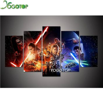 YOGOTOP DIY Diamond Painting Cross Stitch Kits Full Diamond Embroidery 5D Diamond Mosaic Needlework Star Wars 5pcs ML141