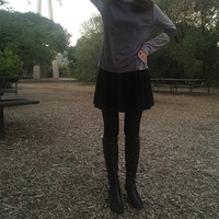 Faux Suede Top with Knit Contrast