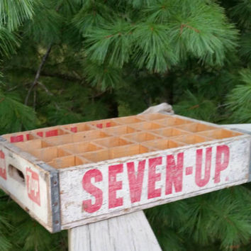 7 UP Wood Metal Soda Crate Whitewash Look with Red Letters SEVEN-UP