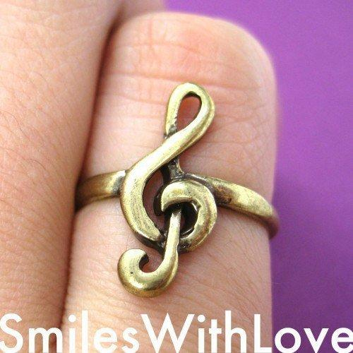 Treble Clef Musical Note Ring in Bronze - Sizes 5 to 7 Available