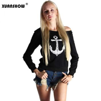 Women's Long Sleeve Sweatshirt Anchor Print Off Shoulder Warm Sexy Designer Fashion Women Pullover Jumper