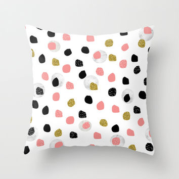Glitter Black Pink Pattern Spots Throw Pillow by Maria Kritzas